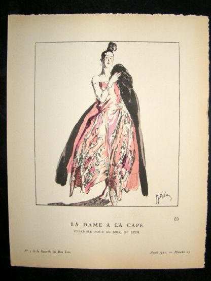 Gazette du Bon Ton by Drian 1921 Art Deco Litho. La Dame a la Cape | Albion Prints